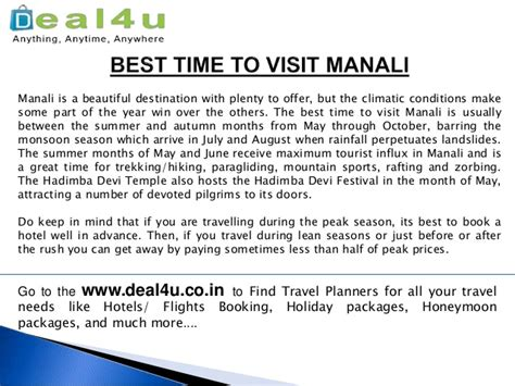 When Is The Best Time To Use A Detox Tea by Best Time To Visit Manali