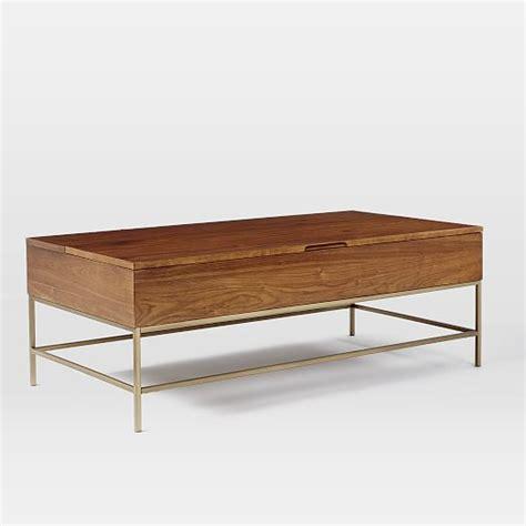 storage coffee table walnut antique brass west elm