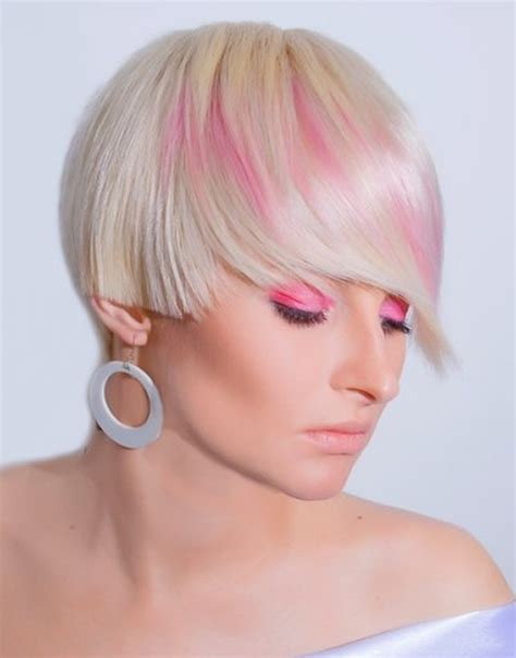 Pink Platinum Blond Streaks On Short Hair   pictures of short hair color short hairstyles 2017