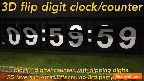 Videohive Flipping Clock 3d Counter With Split Flap Flip Digit Numbers 187 Free After Effects Split Flap After Effects Template