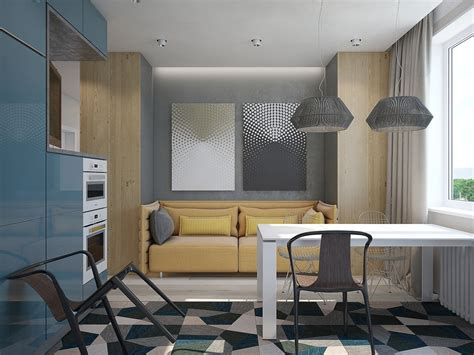 Sofa In The Kitchen by 2 Minimalist Apartment Design Ideas With Beautiful Blue