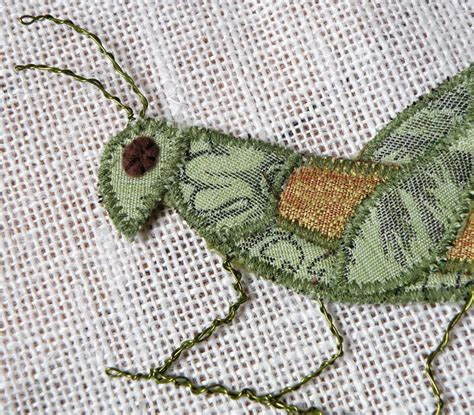 Handmade Textile - handmade fabric insect brooch grasshopper textile artisan