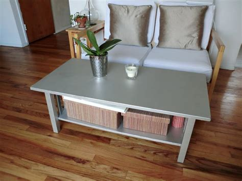 Small Rectangle Wooden Coffee Table Painted With Silver Color With Bookshelf And Box Storage For