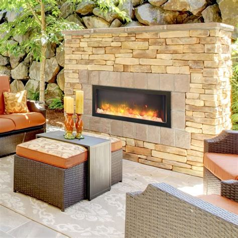 Outdoor Electric Fireplace 40 Inch Indoor Or Outdoor Electric Fireplace Electric Fireplaces Indoor Outdoor And Fireplaces