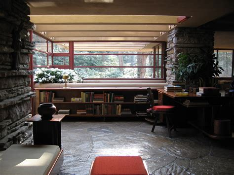 frank lloyd wright falling water interior bookcase modular modular shelving accessories wood