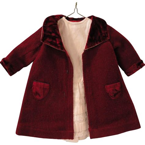 wine colored coat wine colored wool doll coat w underdress from