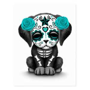 Cute blue day of the dead puppy dog white postcard zazzle
