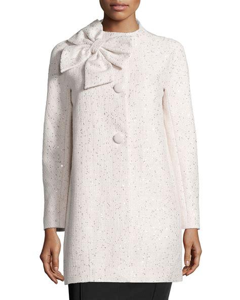 Sleeve Tweed Coat lyst kate spade new york sleeve sequined tweed coat