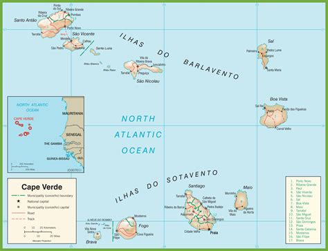 cape verde in world map large detailed cape verde road map