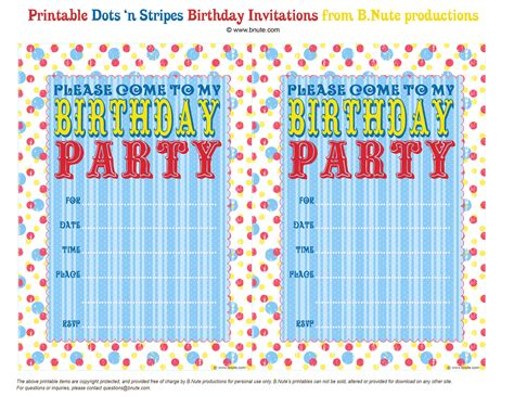 birthday invitations free printable bnute productions free printable dots n stripes birthday invitations