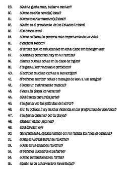 preguntas de español preguntas para espa 241 ol 1 questions for spanish 1 bell