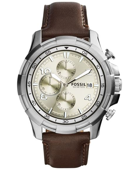 Fossil Chrono Stopwatch Silver Chain fossil s chronograph dean brown leather 45mm fs5114 in brown for lyst