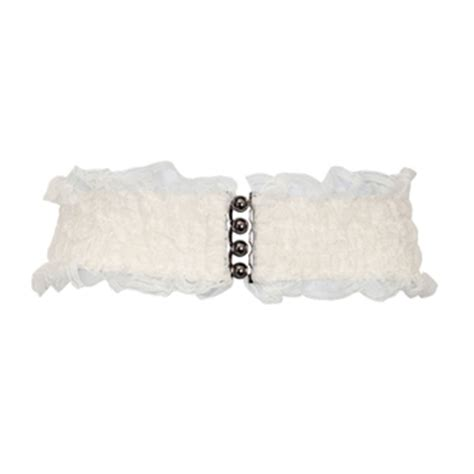 plus size lace wide elastic belt white evogues apparel