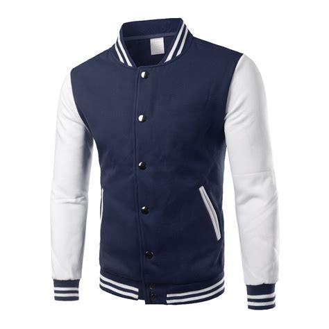 Jaket Sweater Jaket Clasic Basseball classic navy blue varsity jacket 2016 autumn mens fashion fleece college baseball