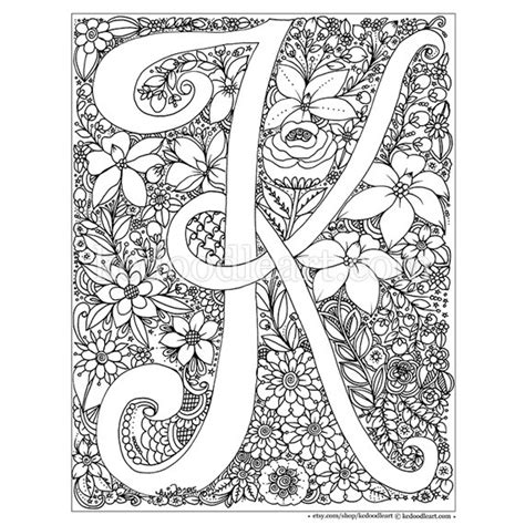 printable mandala letters instant digital download adult coloring page por