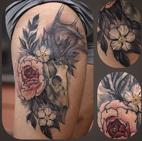 peony and deer skull tattoo tattoooooooooz pinterest