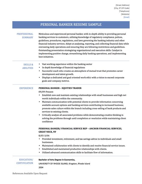 banking resume format for experienced personal banker description for resume resume ideas