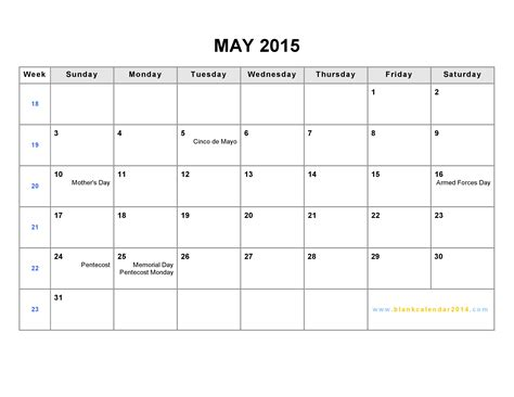 2015 office calendar template may 2015 calendar printable template for office