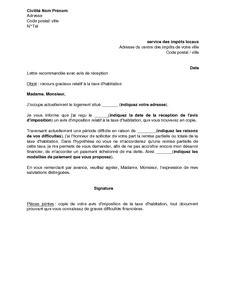 Exemple gratuit de Lettre recours gracieux relatif à taxe