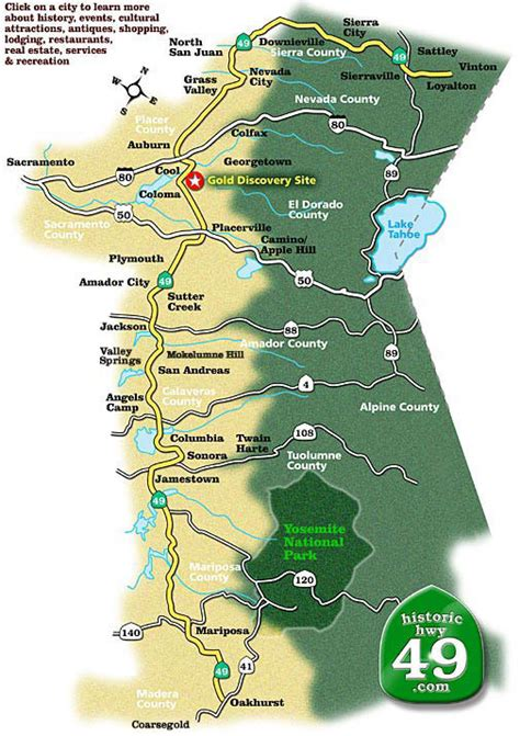 complete map of historic hwy 49