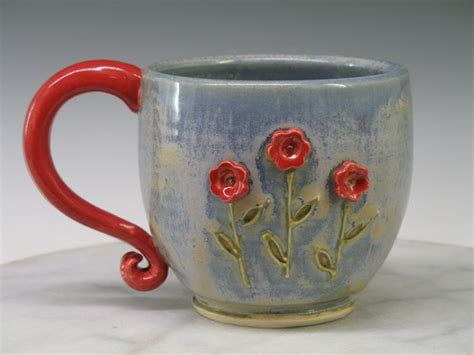Handmade Tea Cups - mug coffee tea cup or mug flowers large ceramic