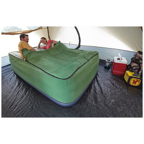 guide gear air bed fitted cover sleeping bag green 100484 air beds at sportsman s guide