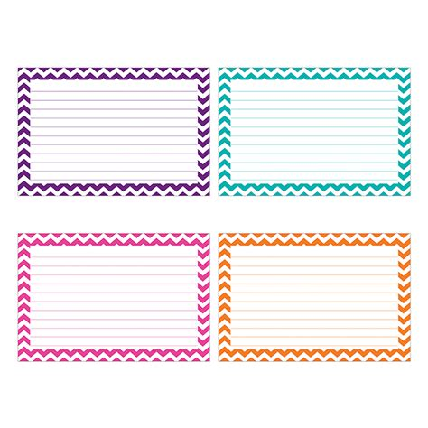 Border Index Cards 4 X 6 Lined Chevron By Top Notch Top3551 Chevron Classroom Decorations Notecard Template