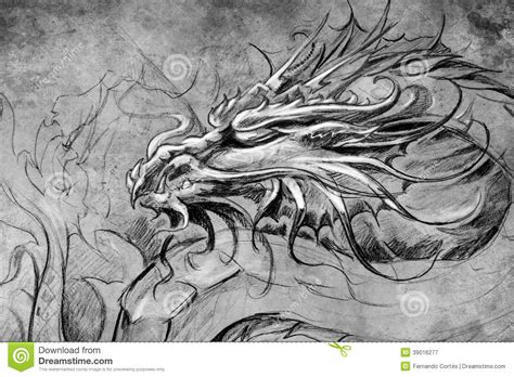 medieval dragon tattoo designs design stock illustration