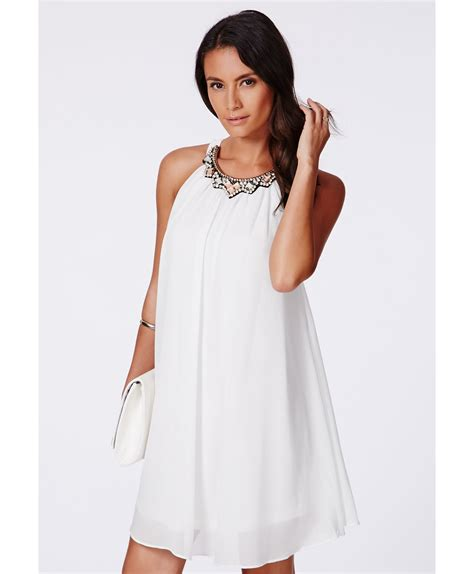 swing dress with collar missguided larita embellished collar swing dress in white