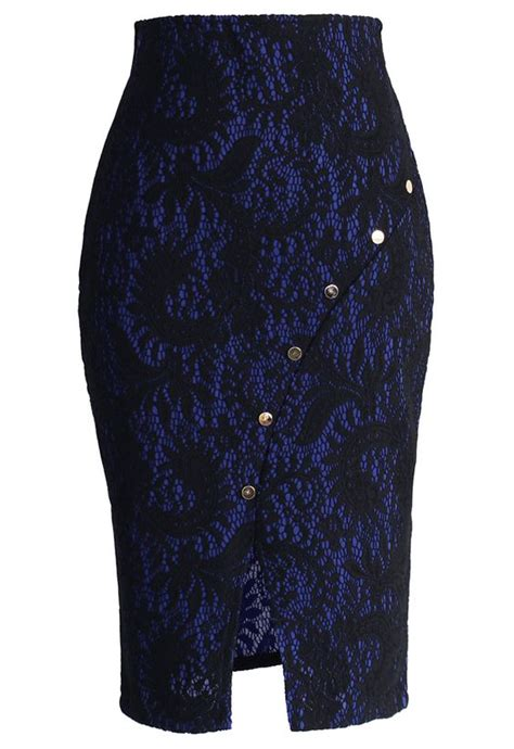 midnight blue blue lace and lace pencil skirts on