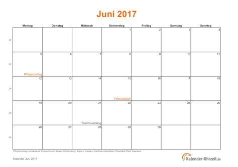 Kalender 2018 Juni Feiertage Juni 2017 Kalender Mit Feiertagen