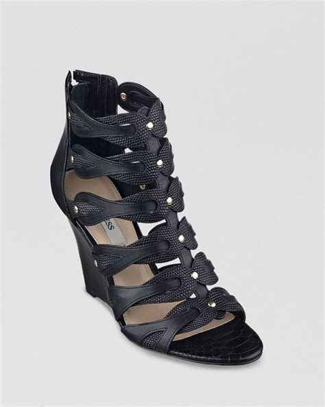 guess open toe gladiator wedge sandals jily2 in black lyst