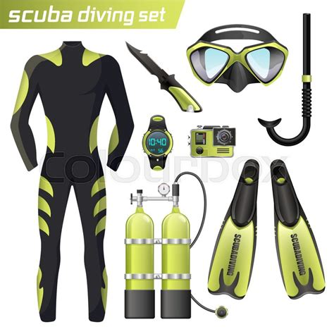 dive gear usa realistic snorkeling and scuba diving set of elements