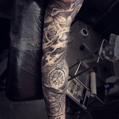 rose and star tattoo sleeve roses dove tattoos