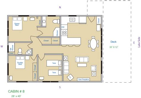 cabin layouts cabin 8 kee nee moo sha on lake cass county