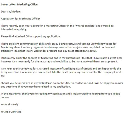 marketing position cover letter marketing officer cover letter exle icover org uk