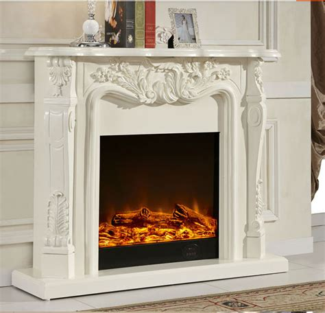 ivory white antique decor electric fireplace and