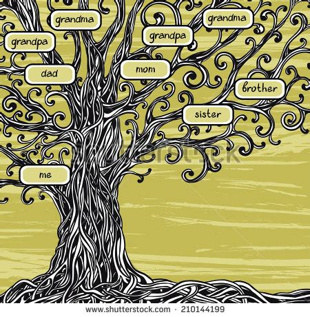 Family Tree Old Oak Tree On Stock Vector 210144199 Shutterstock Family Tree Concept Illustration Vector