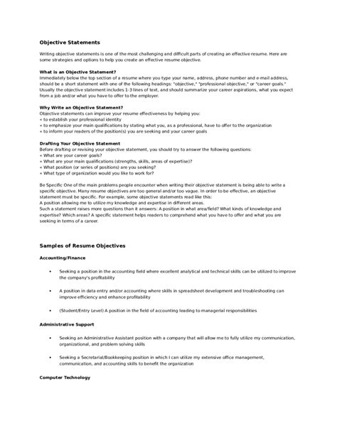 Objective Statement Resume by Objective Statements For Resumes Exles Sanitizeuv
