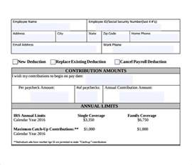 Employee Deduction Form Template by Sle Payroll Deduction Form 10 Free Documents