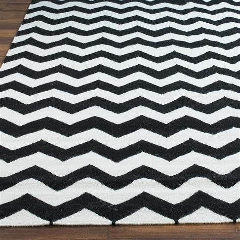 White Chevron Rug chevron dhurrie rug black white rugs by shades of