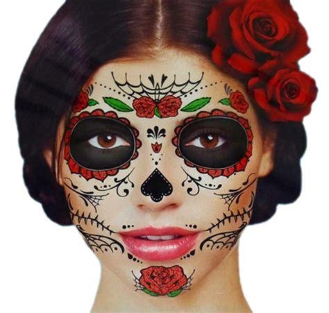 glitter red roses day of the dead sugar skull full face
