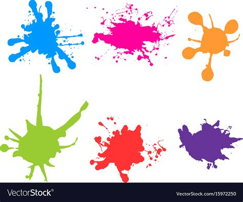 color splatter color paint splatter paint splashes set royalty free vector