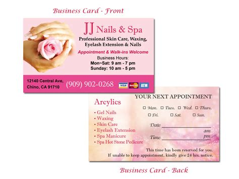 business card template nails business cards for gel nails choice image card design