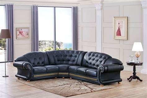 Sectional Sofa Chaise Versace Cleopatra Black Italian Top Grain Leather Left