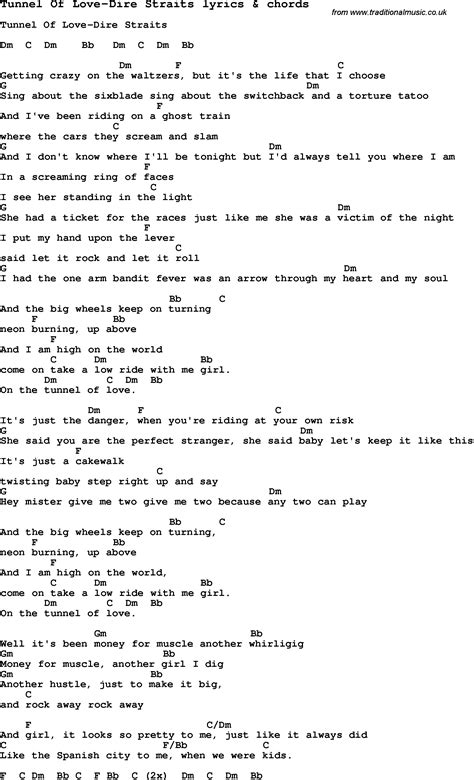 lyrics of song lyrics for tunnel of dire straits with chords
