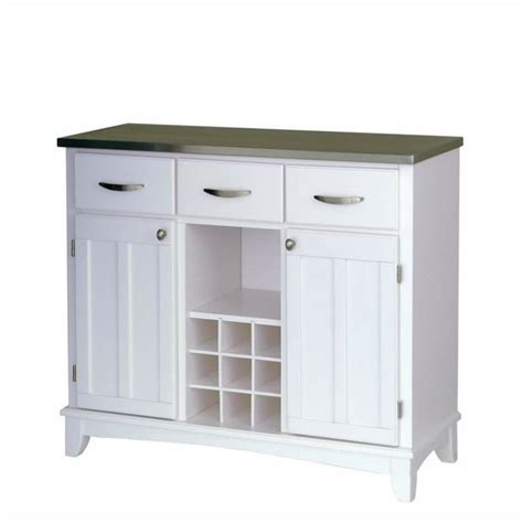 buffet kitchen furniture home styles large white base and stainless steel top