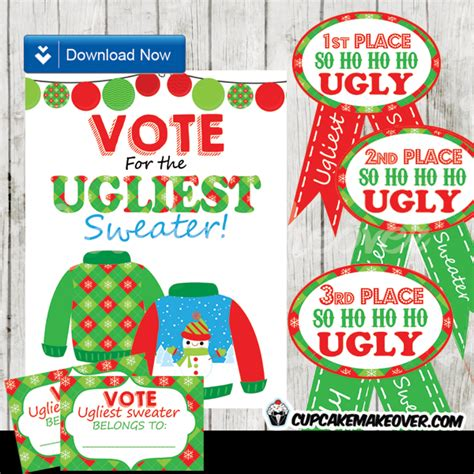 ugly sweater awards printable cardigan with buttons