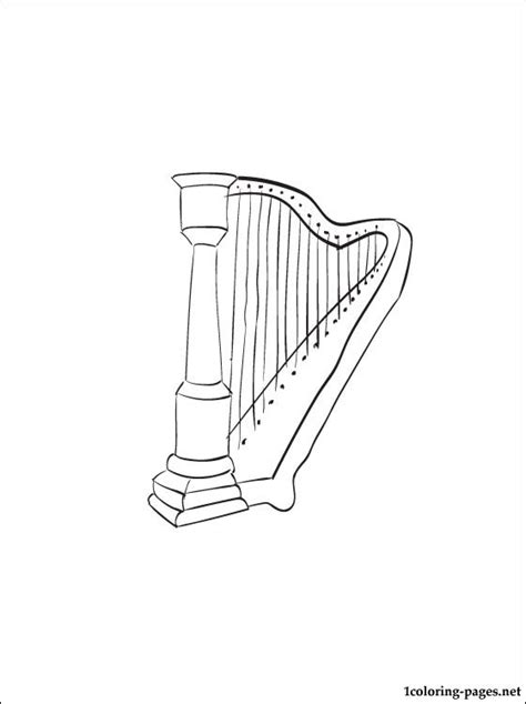 harp coloring page coloring pages