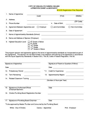 apprenticeship form fill online printable fillable